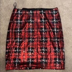 ELOQUII red plaid sequins skirt